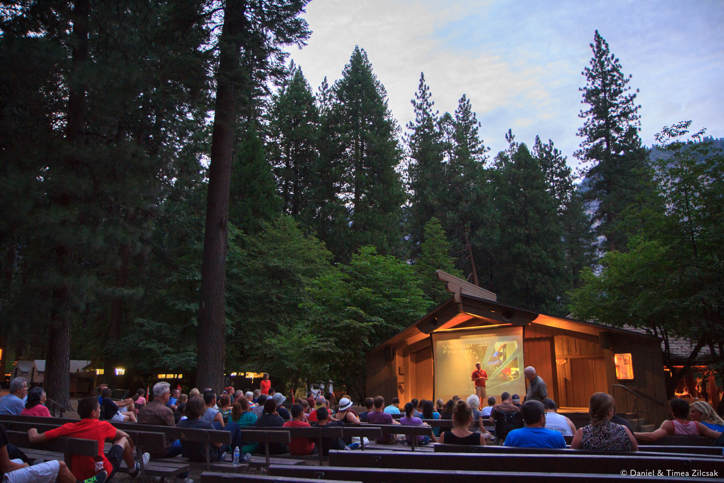 Enjoying a show at the Curry Village outdoor theater