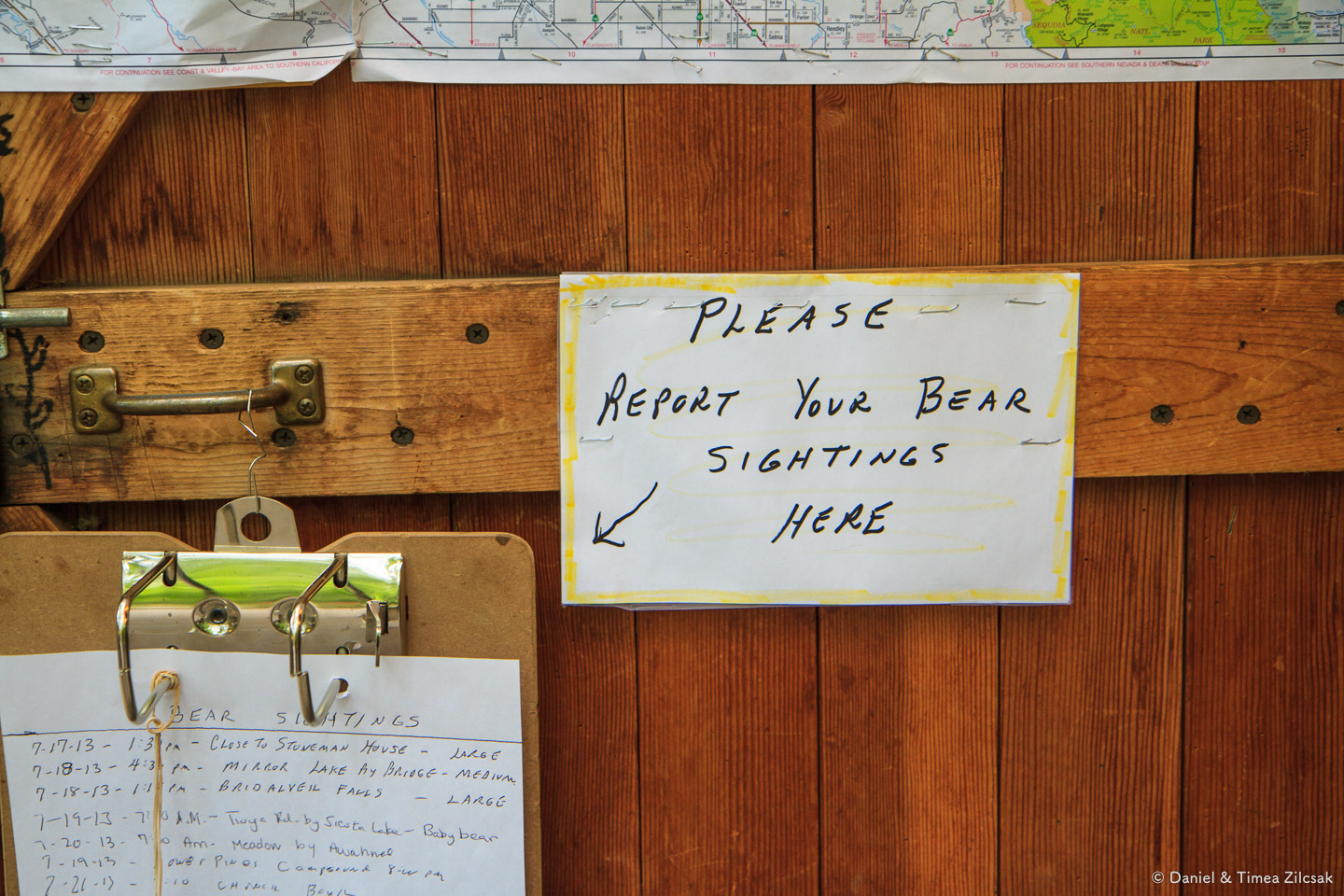 Bear sighting report sheet at Curry Village visitor center