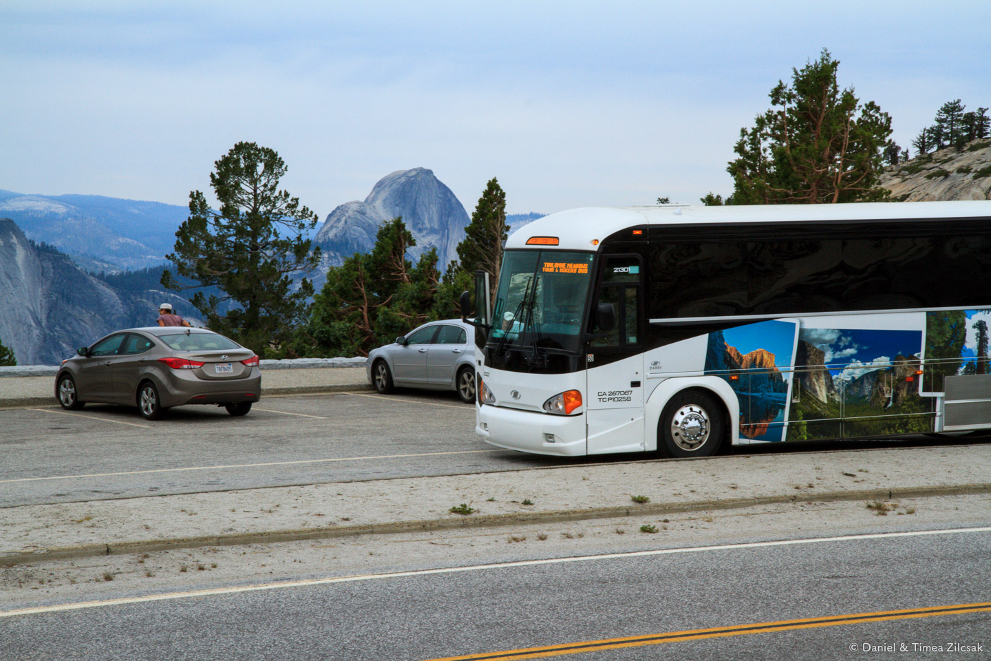 Riding a fancy bus from Yosemite Village to Tuolumne Meadows