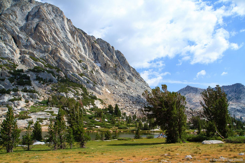 Fletcher Lake and Fletcher Peak right above it - Backpacking Yosemite