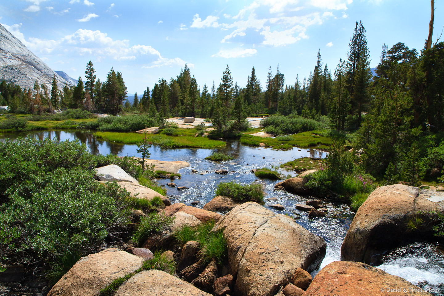 Fletcher Lake outlet and the beginning of Fletcher Creek - Backpacking Yosemite