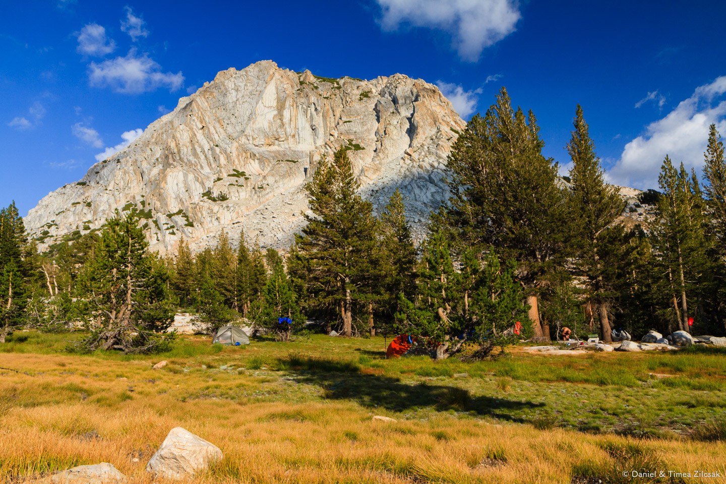 Our camp at Vogelsang High Sierra Camp bathed in warm sunset rays - Backpacking Yosemite