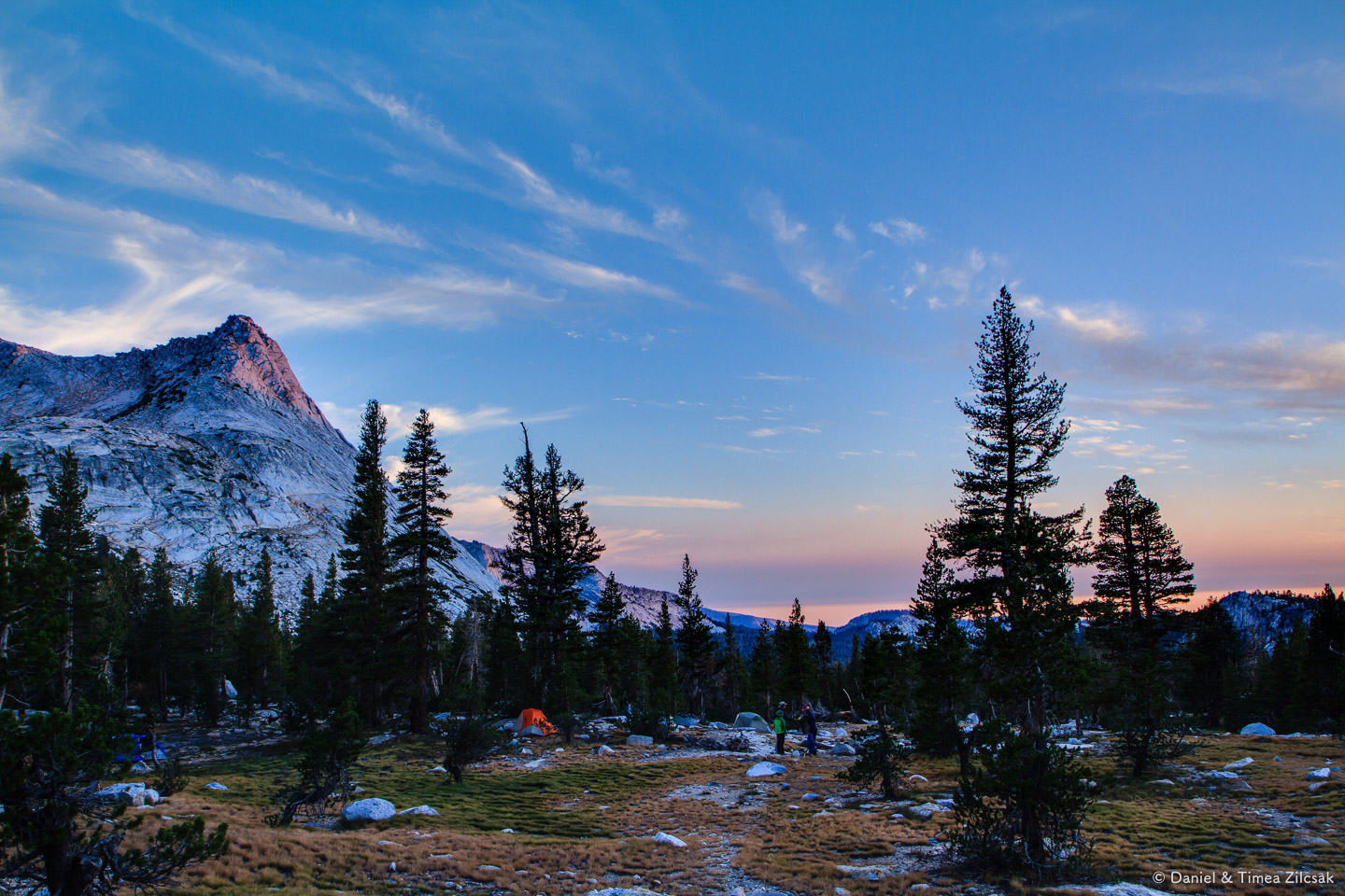 Sunset from camp at Vogelsang High Sierra Camp - Backpacking Yosemite