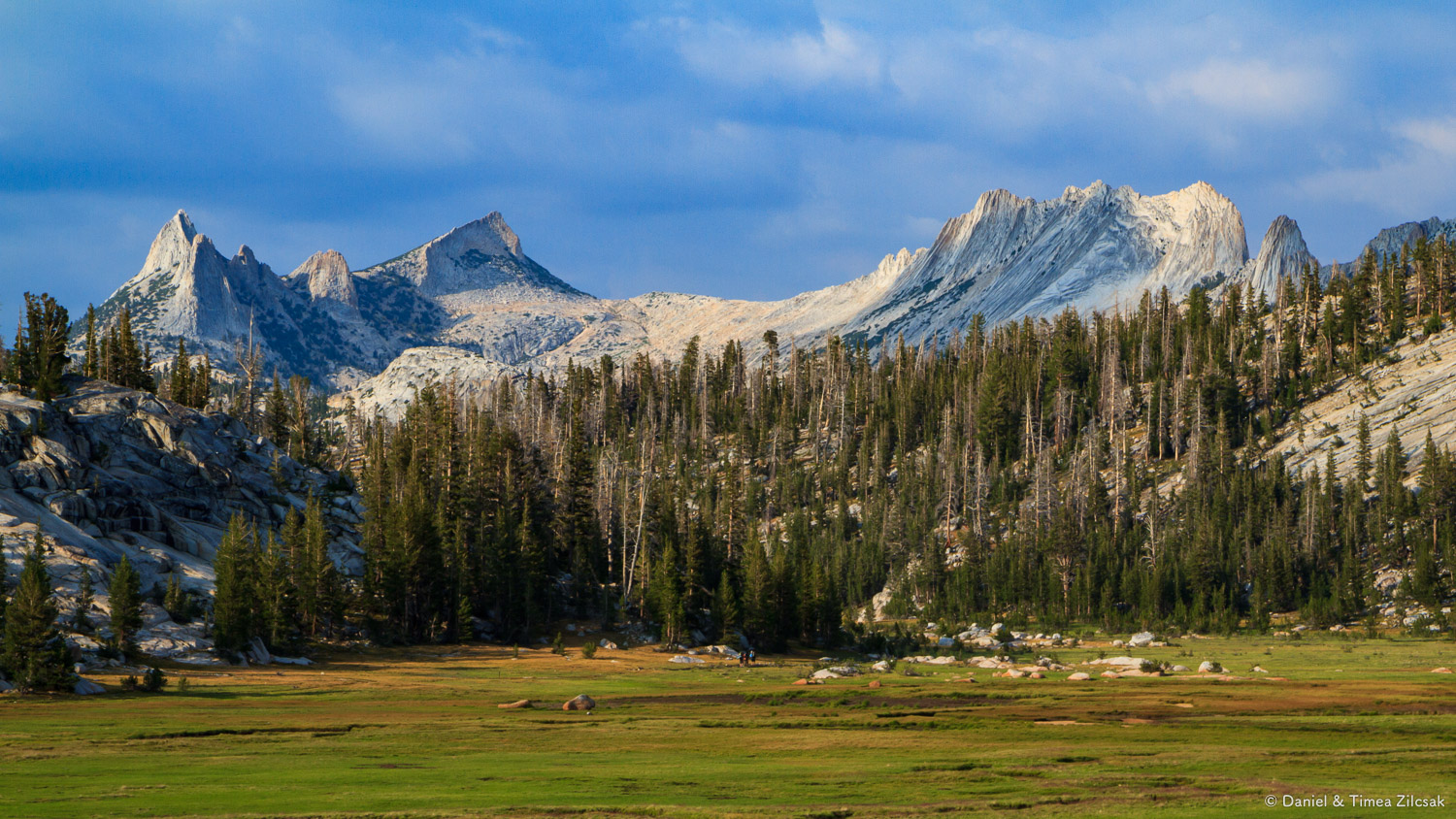 View of Cathedral Range at sunset from near our camp at Sunrise,