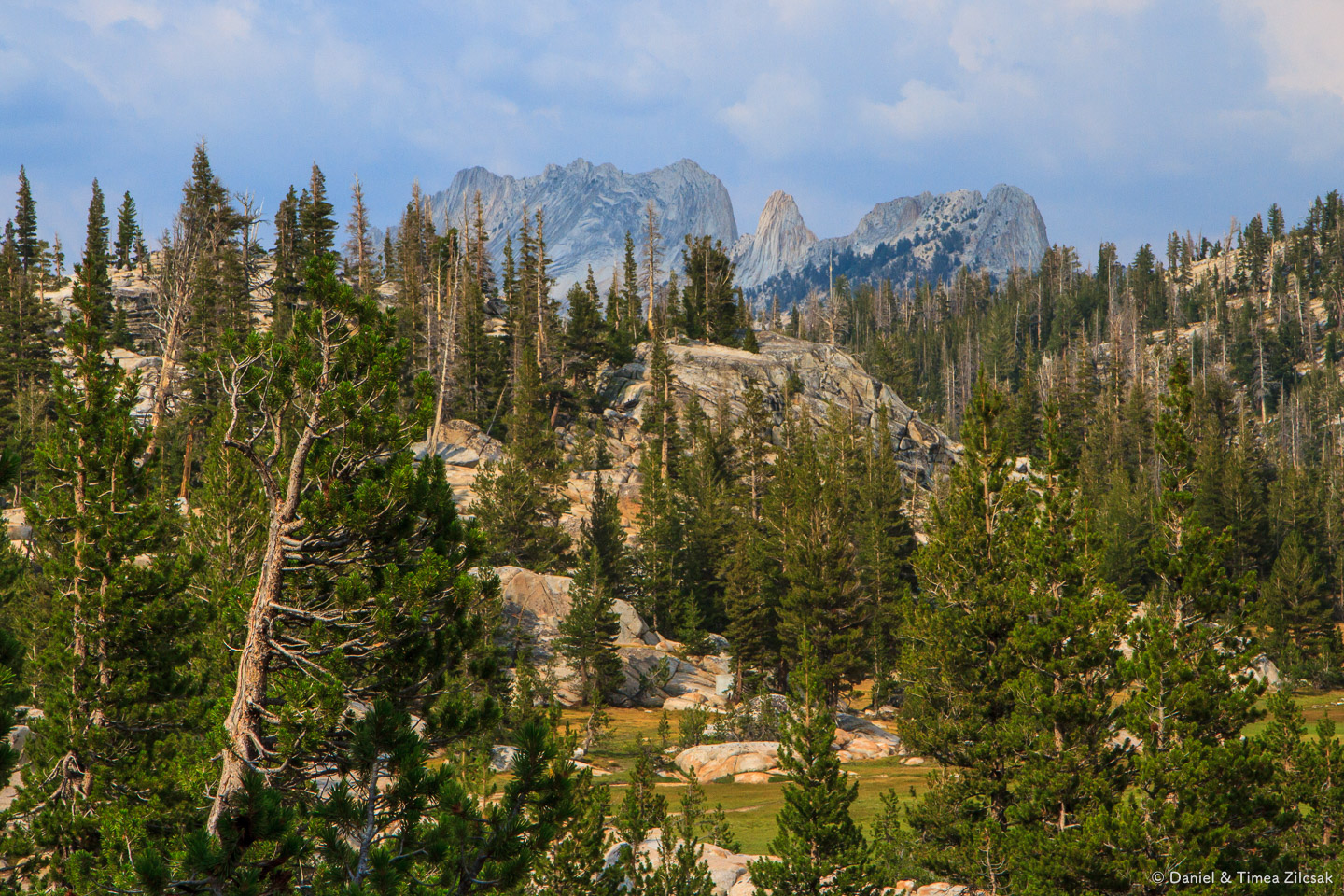 View of Cathedral Range at sunset from Sunrise Camp, Backpacking
