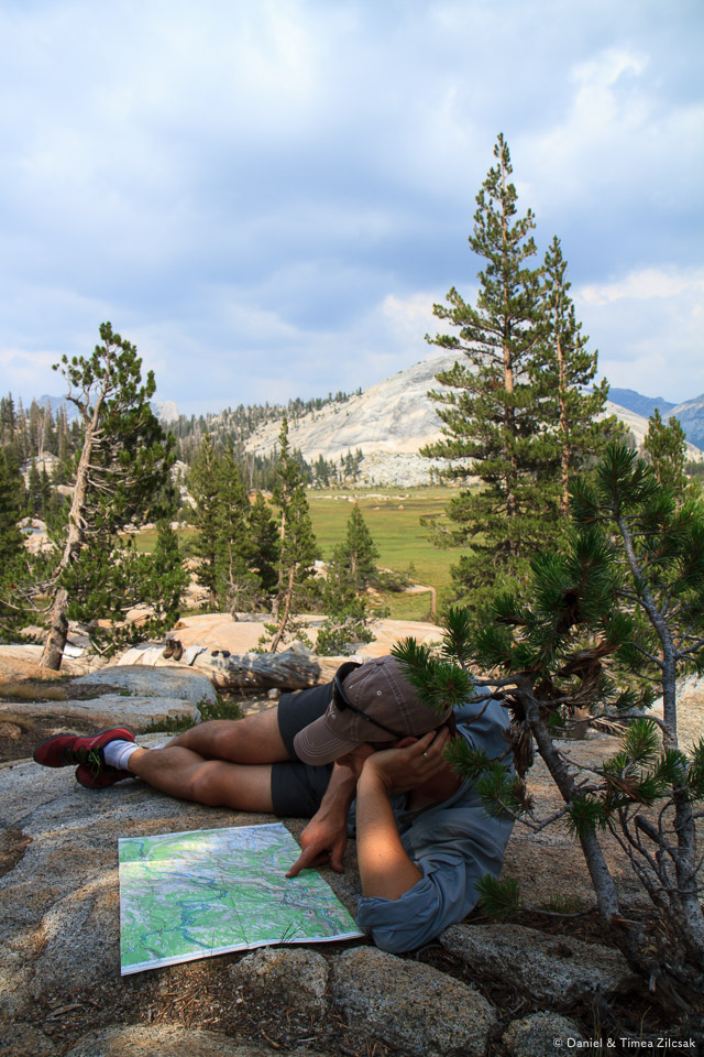 In camp at Sunrise, Backpacking Yosemite National Park
