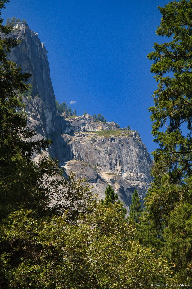 The moon touching the mountain from a bridge near Happy Isles, Yosemite Valley