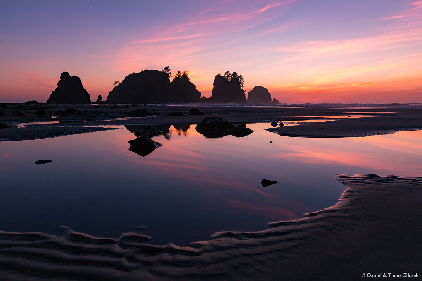 Sunset at Point of The Arches Shi Shi Beach, Olympic Peninsula,