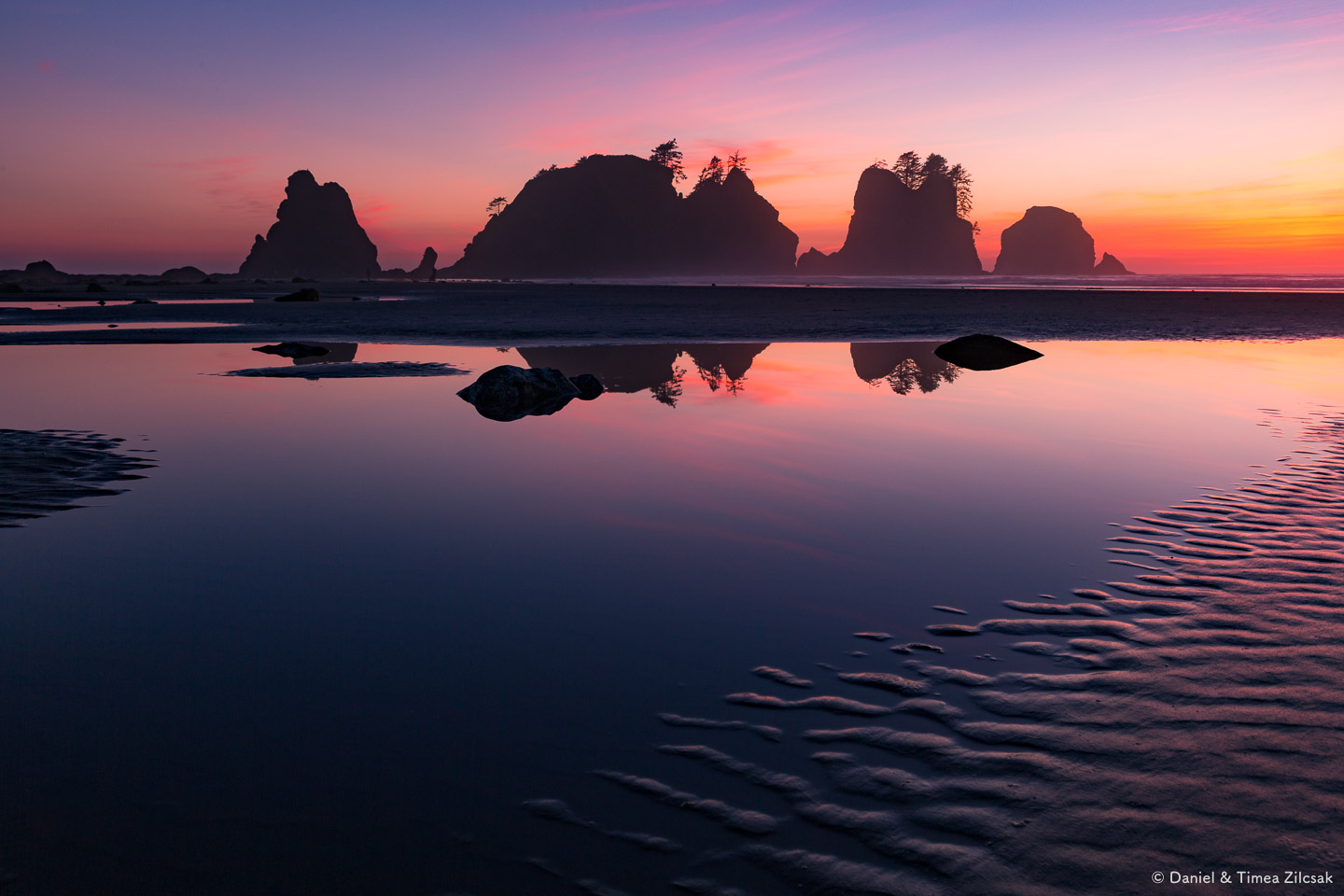 Surreal sunset at Shi Shi Beach and Point of the Arches