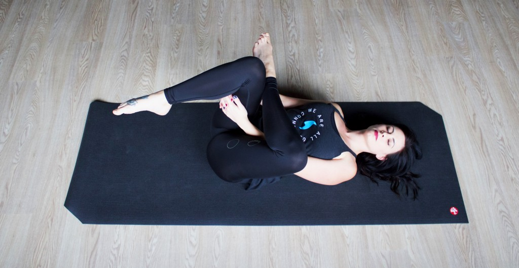 Variation of Sleeping Swan Pose   Begin lying on your back. Bend both knees and plant your feet on the floor. Place your right ankle on top of your left knee, letting your right knee fall out to to the side as the right hip opens. If you feel sensation, you can stop here. Gently press the knee away from the body and see if that changes the sensation. If you are not feeling any pain, try picking up the left leg, grasping the underside of the thigh and pulling toward your chest. Repeat on the left side.