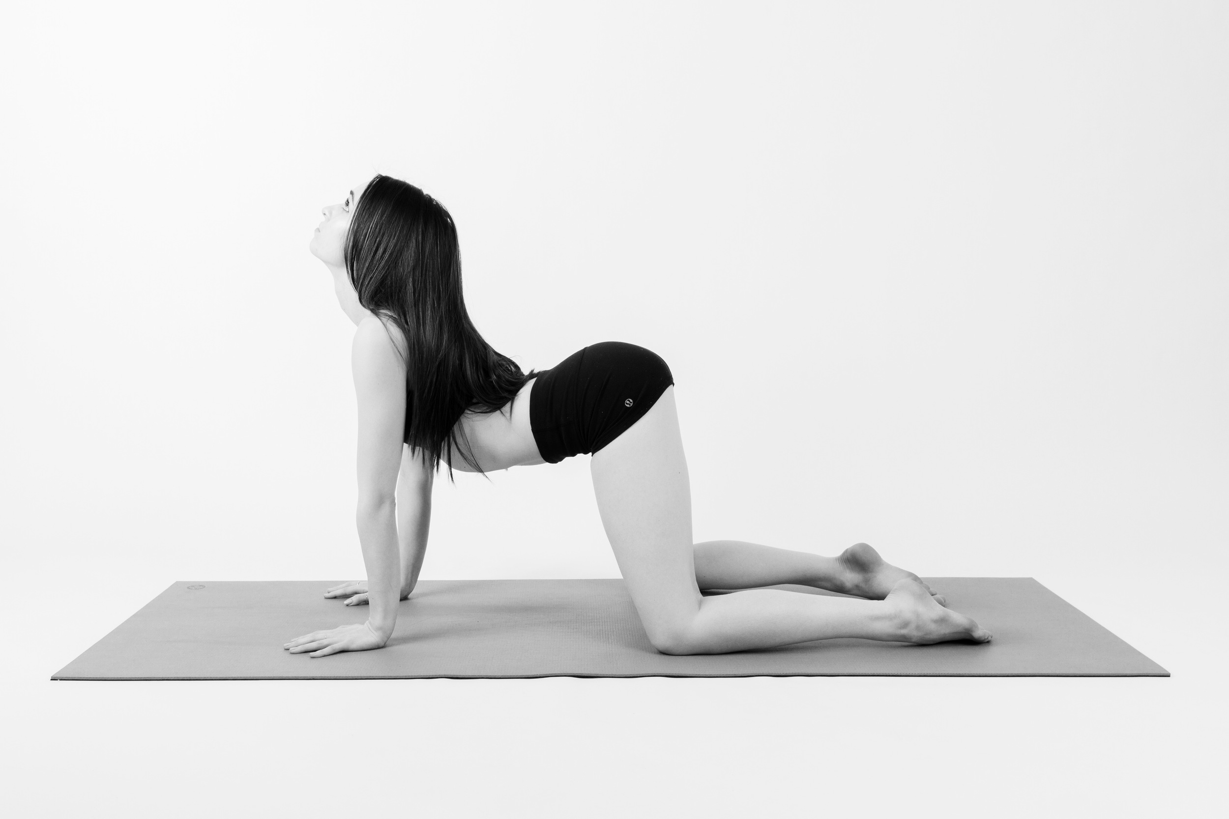 CAT POSE     Start out by coming to a tabletop position.   Stack your shoulders over your wrists, and your hips over your knees.     As you inhale, drop your belly down to the floor, and lift your chest and chin.