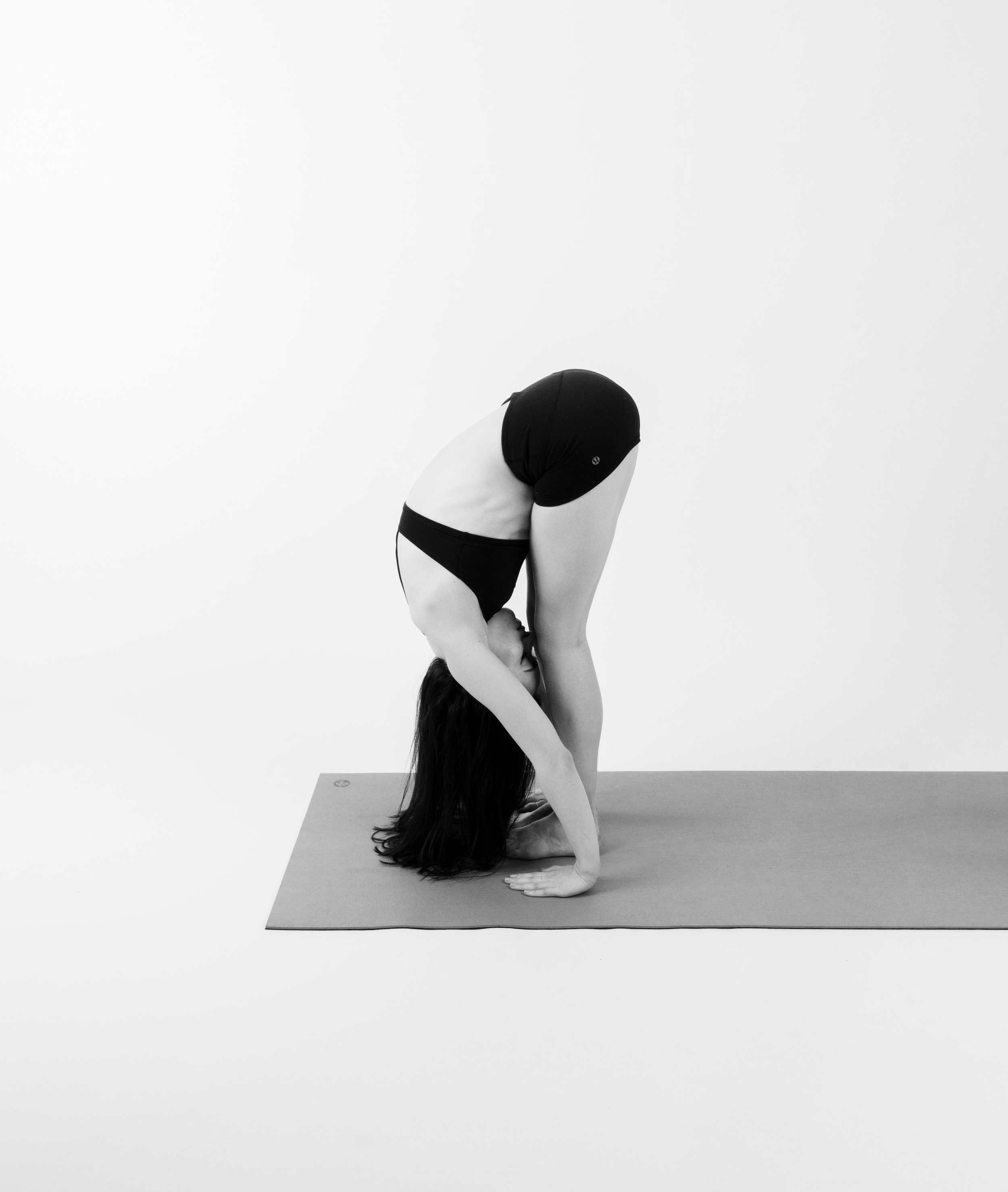 FORWARD FOLD     Gently exhale, fold forward and down. Bend your knees deeply and let your arms hang heavy down to your sides. Try swaying a little from side to side, nod your head yes and shake it no, move around and stay loose.