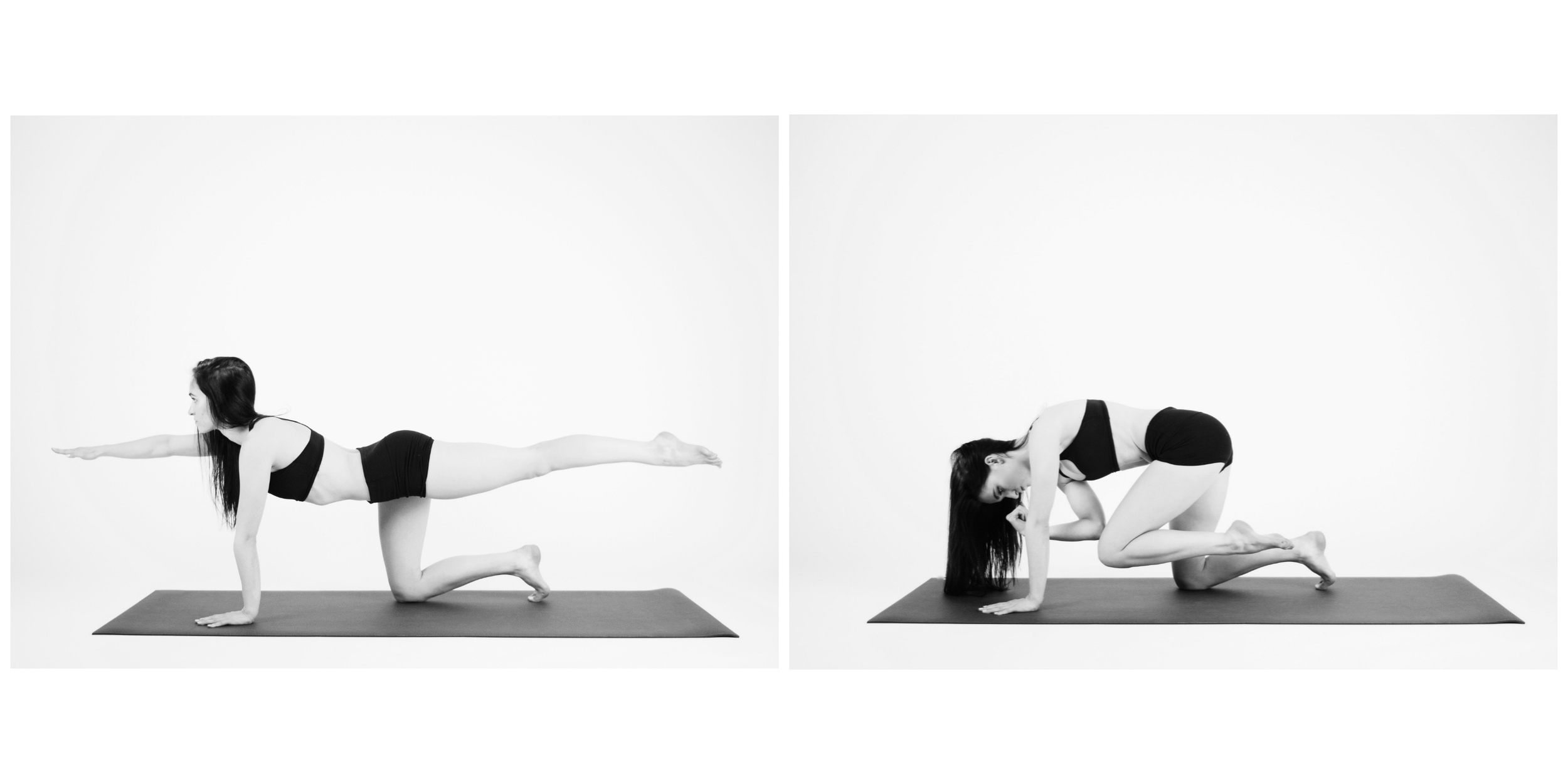 BALANCING TABLE  Back on your hands and knees, inhale and stretch your right arm in front of you and extend your left leg back behind you. Try tucking your back toes under for more stability. Exhale and draw your elbow and knee towards each other under your body. Repeat 3x on each side.