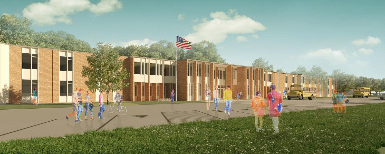 ARCHITECT'S RENDERING OF THE NEW WESTPORT GRADE 5-12 SCHOOL.   POSTED THURSDAY, SEPTEMBER 26, 2019 7:18 AM