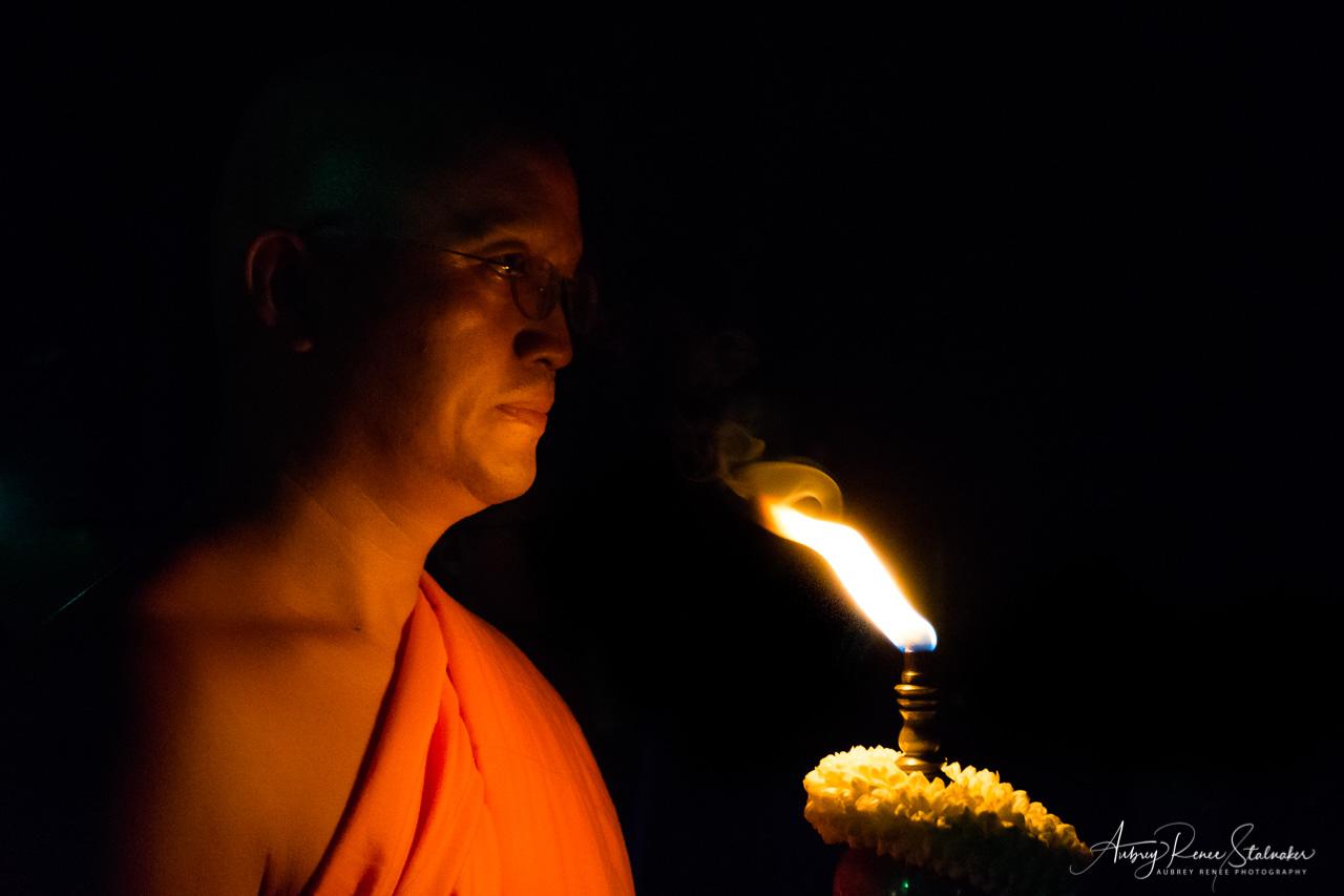 Buddhist Monk at Yi Peng Lantern Festival in Chiang Mai, Thailand