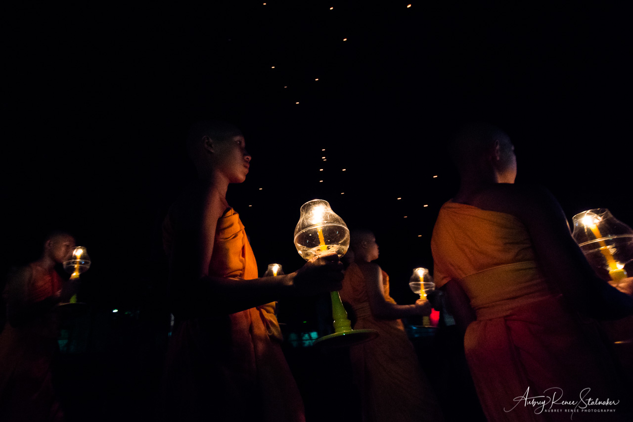 Young Buddhist Monks at Yi Peng Lantern Festival in Chiang Mai, Thailand