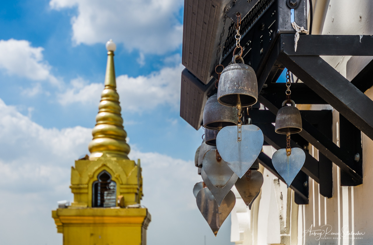 Bells in Front of the Stupa at Wat Saket, Bangkok, Thailand