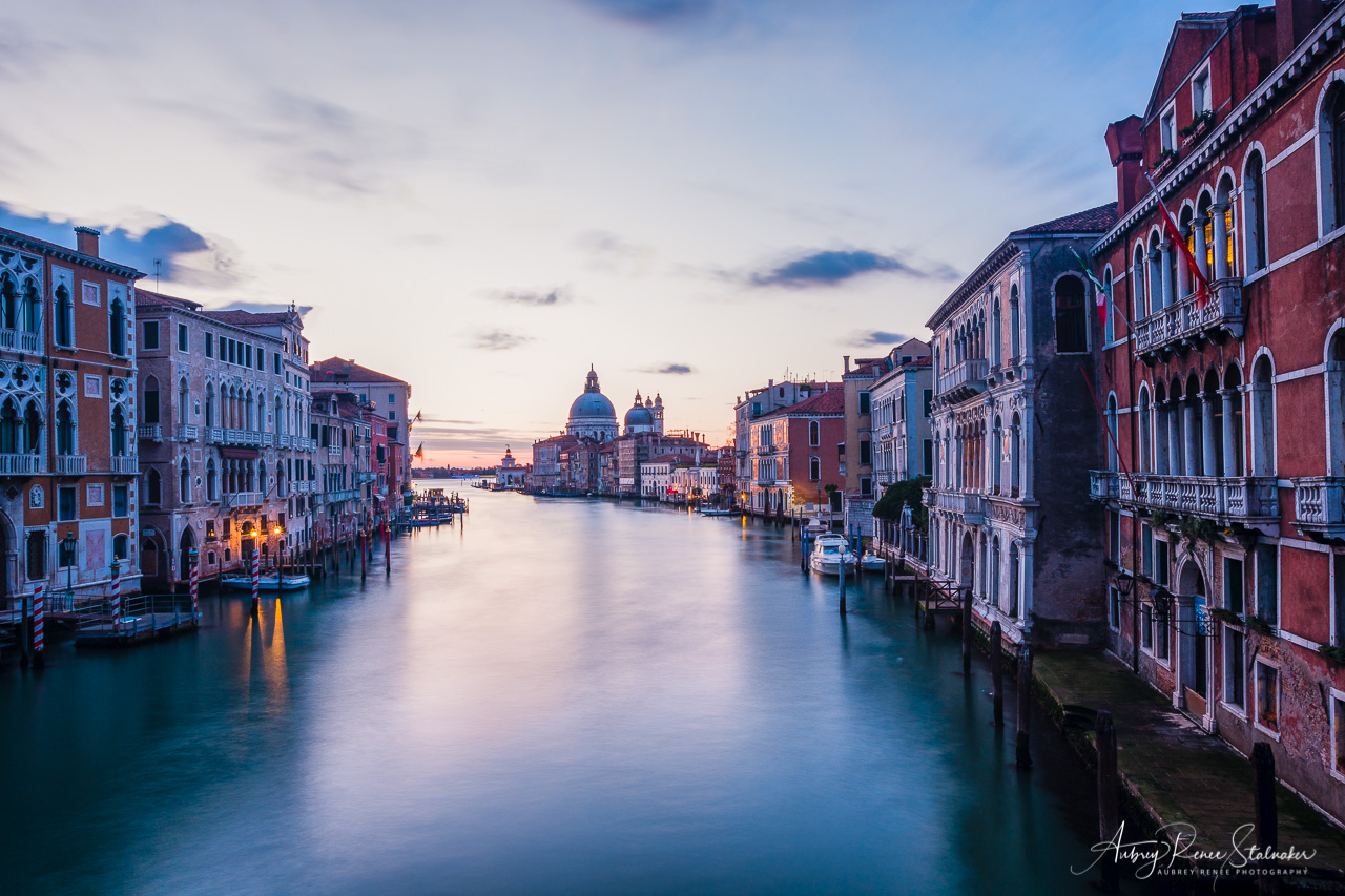 Sunrise over the Grand Canal as seen from the Ponte dell'Accademmia