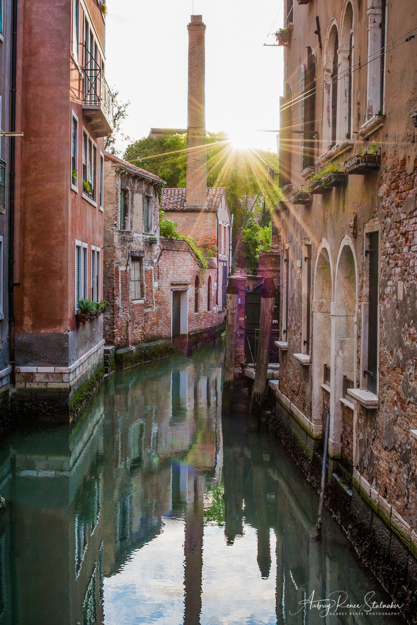 Sunstar over Canals in Venice, Italy