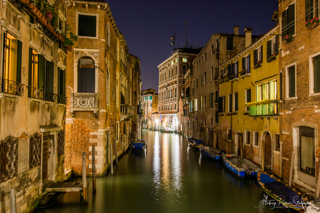 Canals of Venice, Italy at Night