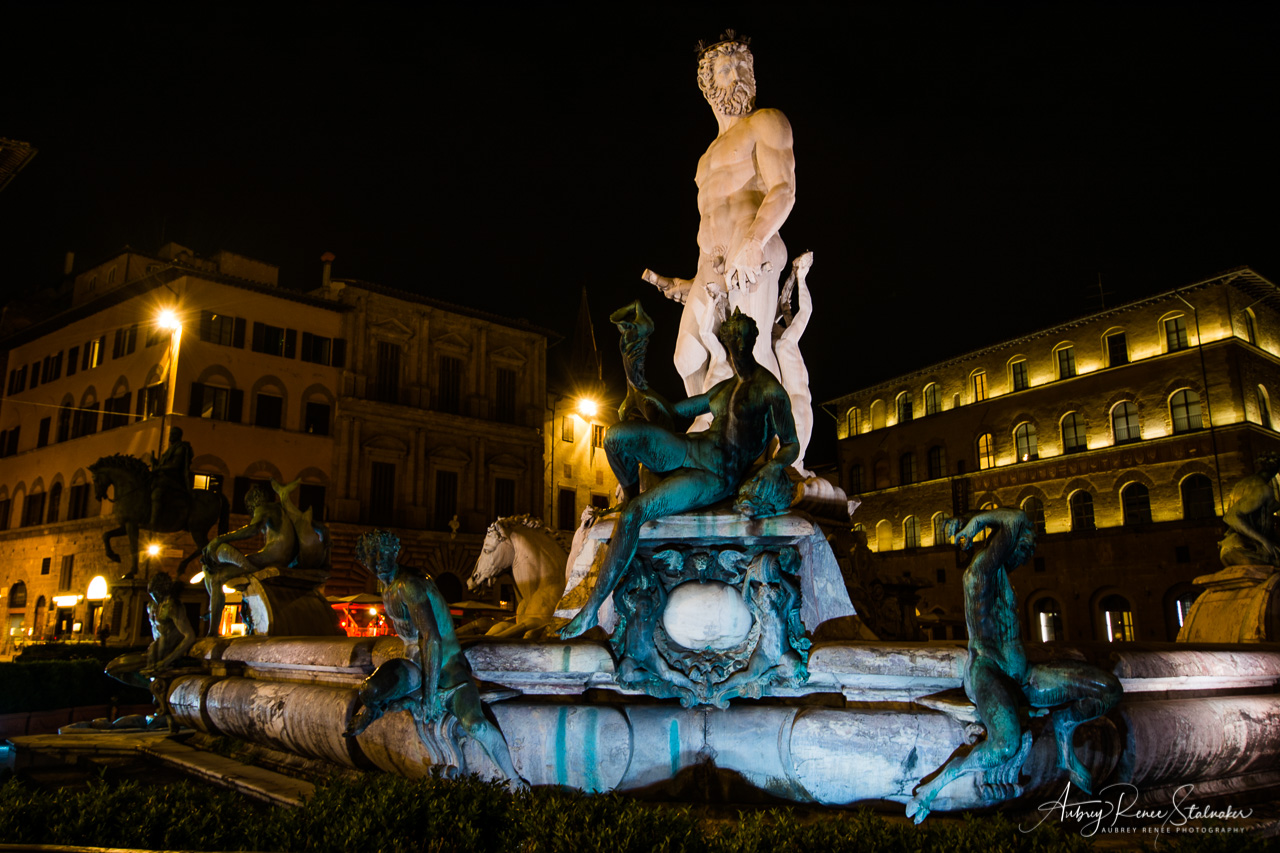 Neptune's Fountain in the Palazzo della Signoria at Night
