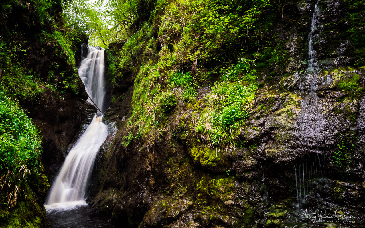 Waterfall in Glenariff Forest Park in Northern Ireland