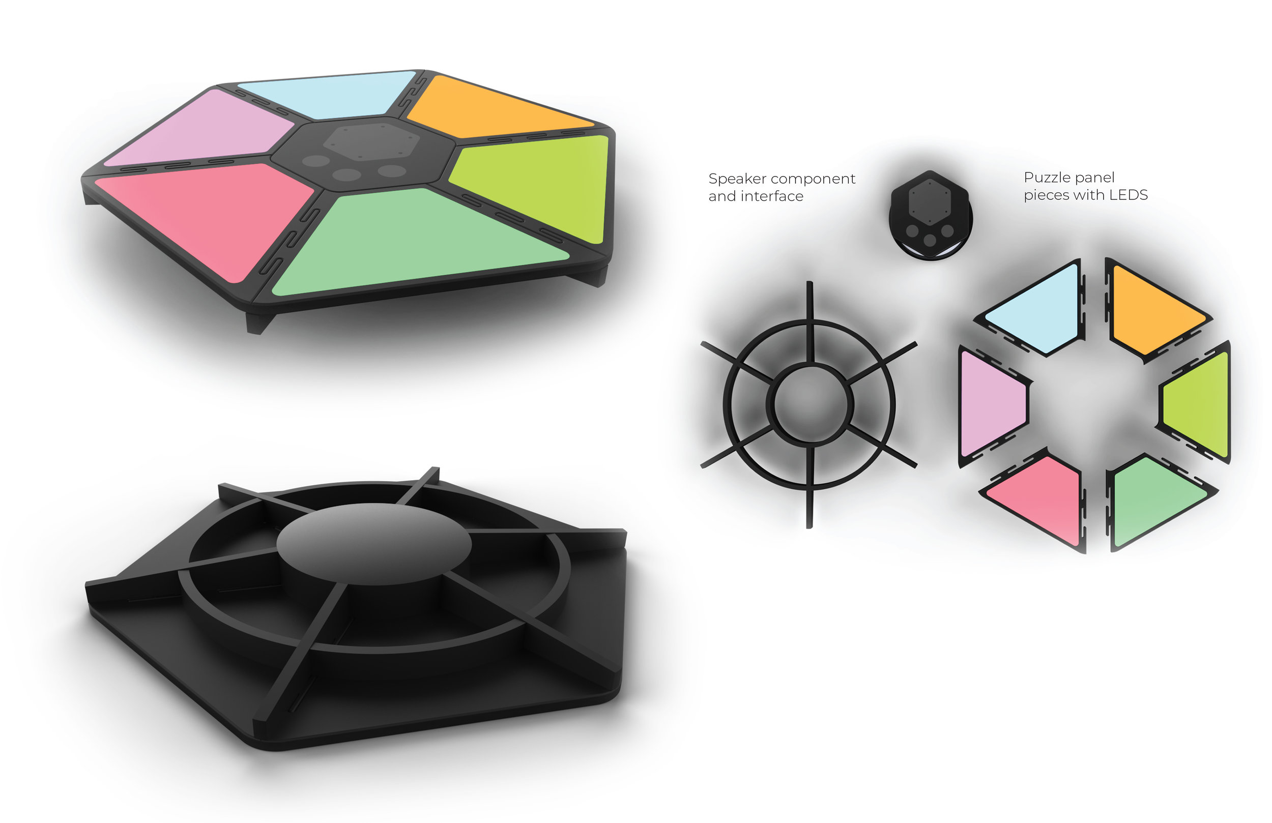 One can see the initial CAD model created for the multi-axis, modular balance board. This board utilizes a puzzle-piece formation to place the panels together and then onto a ribbed frame. Each of these panel pieces has an LED in it that would flash a particular colour and the user would have to reposition their feet onto the colors shown. The middle component is a speaker, and also holds the interface system for the device.