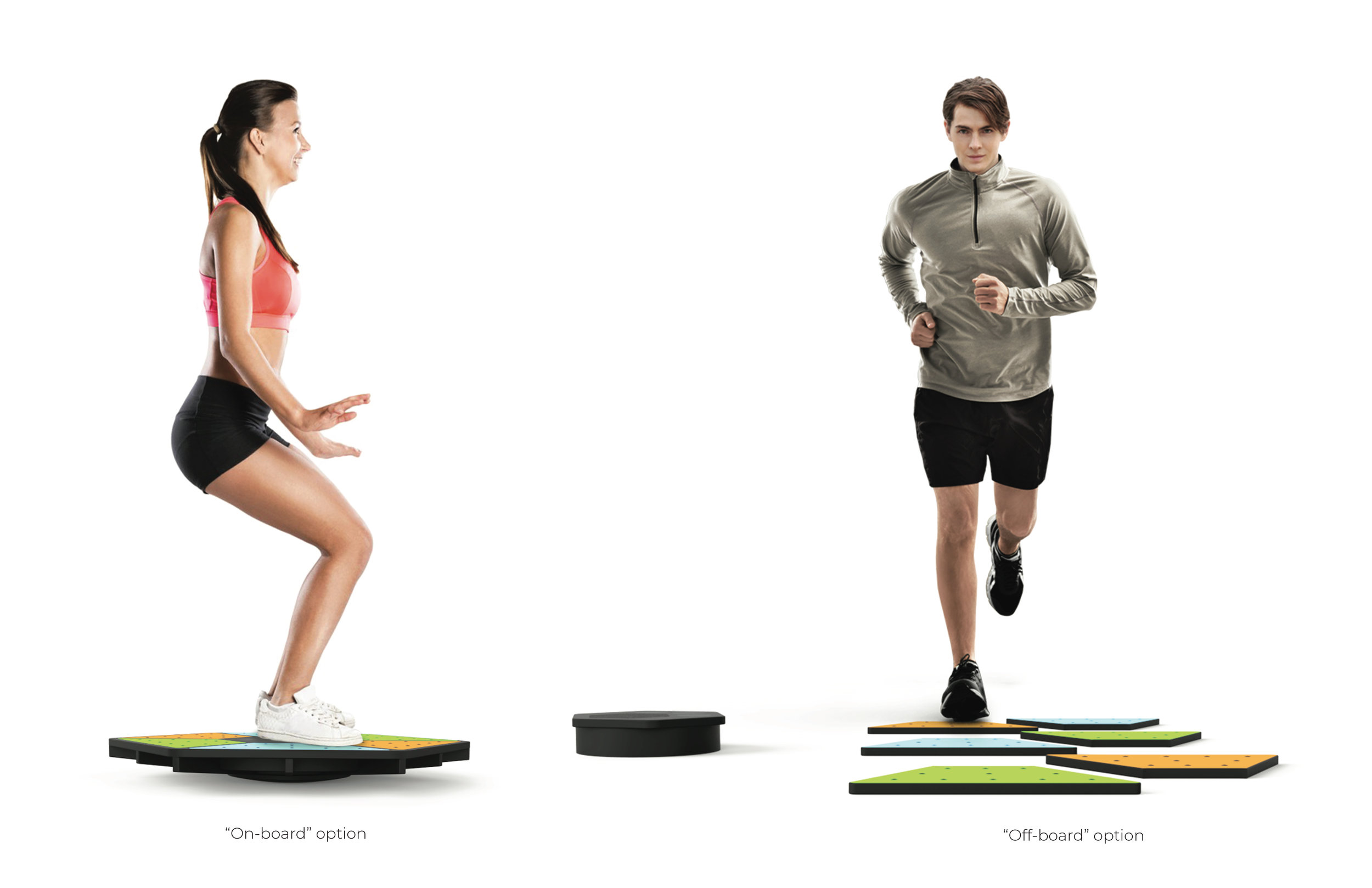 """One can see the context shot of the multi-axis, modular balance board displaying both settings. One displays """"on-board"""" balancing exercises, where the user has to follow the instructors actions, and if they fail to stay in sync with their movement, the music will distort. The other displays the """"off-board"""", stepping-based exercises, where the user must also follow the instructors actions or the music would distort as well."""