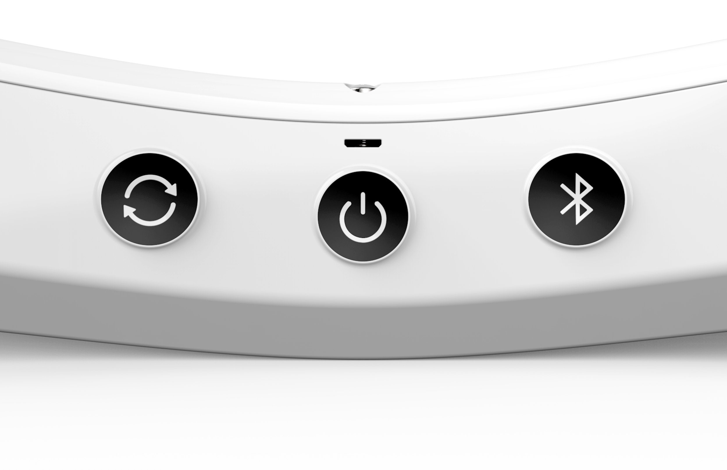 Sync button, power button, mini USB charging port, and bluetooth button.
