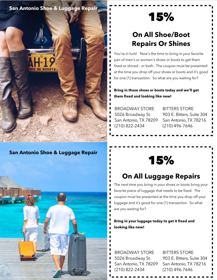 Download Your Cash Coupon Above, Print & Redeem Your SA Shoe & Luggage Store. This Image Will Not Be Accepted As The Coupon.