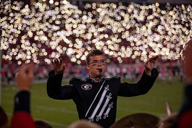 A few of my favorite #LightUpSanford photos from the Notre Dame game, ft. @ugaredcoatband. ✨ ⠀ It's been a great season so far. Thanks for letting me be a part of it, Redcoats. Let's keep going. 📷 ⠀ Ps: @grayzeanne + @kwhsnaps - your legacy lives on. ♥️