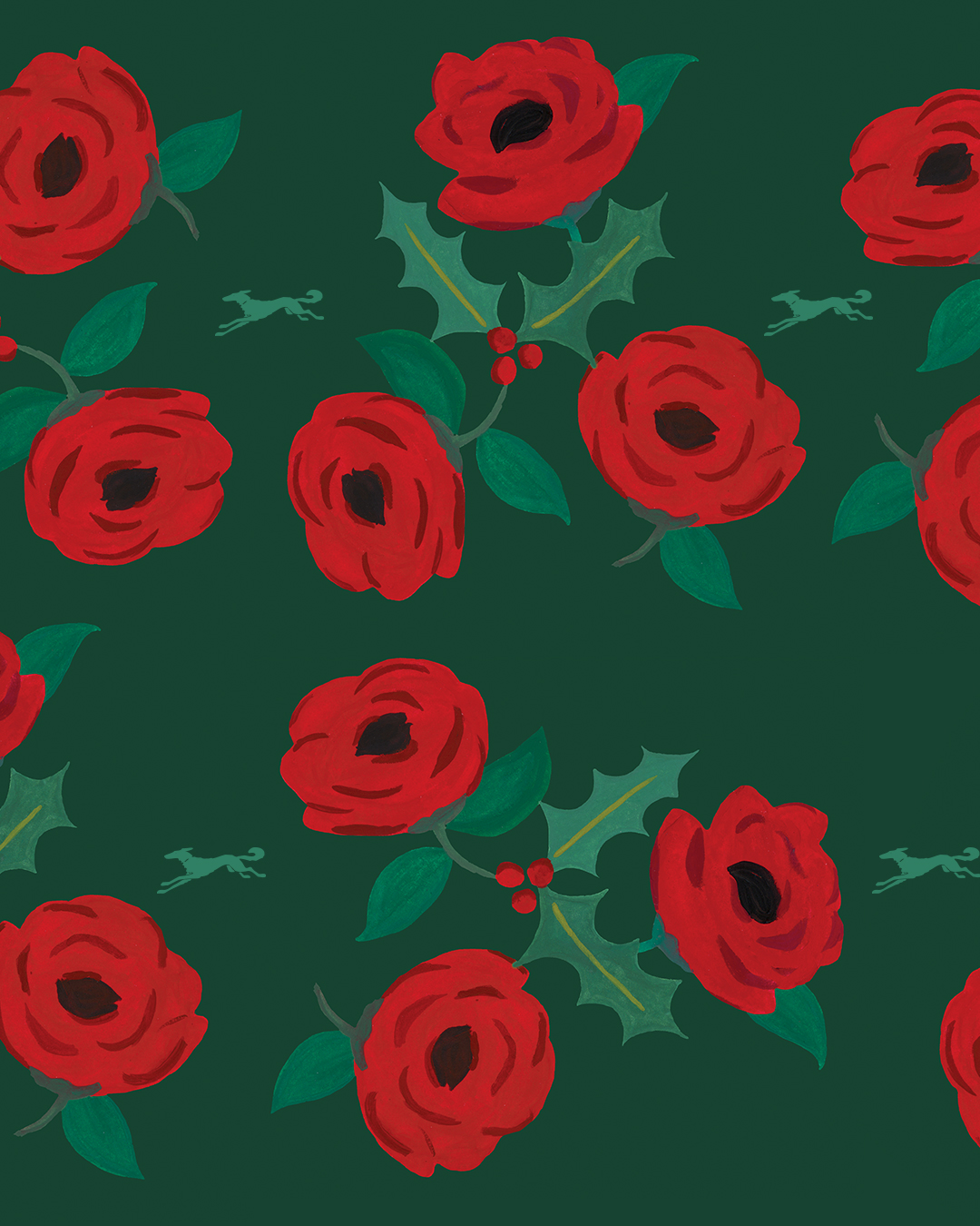 Gouache painted roses for a wrapping paper design.