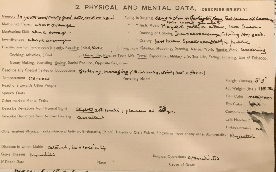 Gertrude Davenport, Eugenics Record Card, undated | Source:  APS