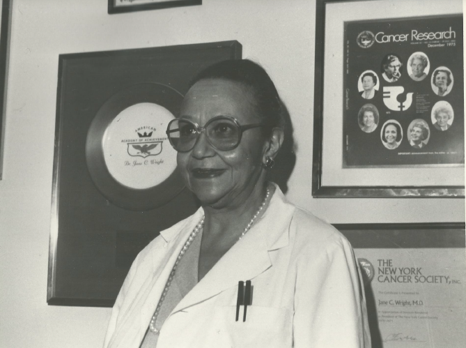 Dr. Jane Wright in her medical office in New York City.
