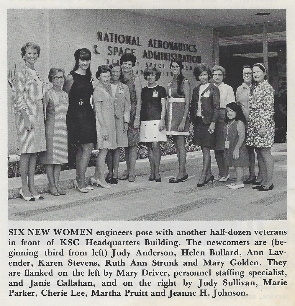 Montgomery, listed as Ann Lavender, is fifth from the left. From  Spaceport News , 1968. Courtesy of Ann Montgomery.