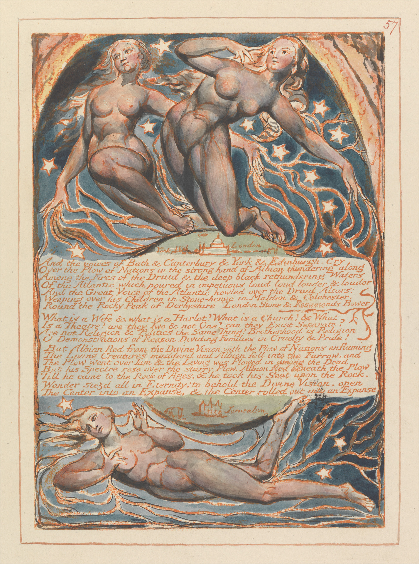 Plate 57. Relief etching print from Jerusalem, William Blake. (Published with permission from the Yale Center for British Art, Paul Mellon Collection)