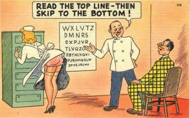 """""""Read to the top line– then skip to the bottom!"""", ca. 1919-1952. ( National Library of Medicine  I Public Domain)"""