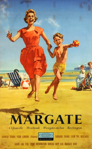 Woman and young boy leap towards the viewer, hand-in-hand on a beach. Blue and white striped deckchairs with other family members in the background. Image Credit: Southern Region of British Railways and printed by Ernest J. Day & Co Ltd., London.