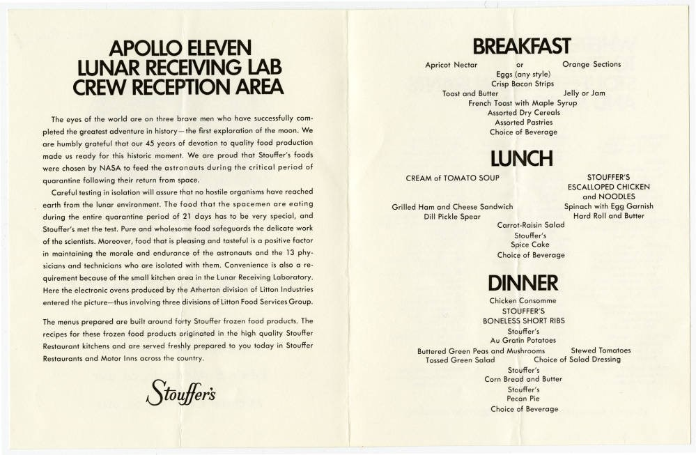 Menu from the Reception Area at the Lunar Space Center in Houston, TX. Courtesy of The Culinary Institute of America Menu Collection.