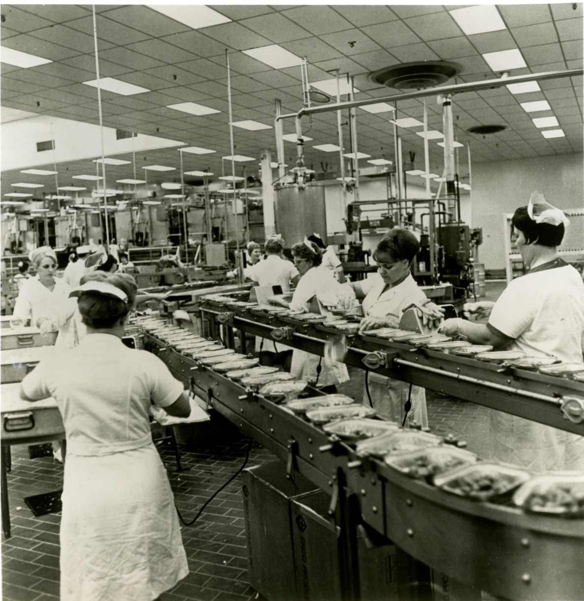 Women working on the Assembly line at the processing plant in Solon, Ohio. Isolation/Quarantine Foods for Apollo 11 Astronauts from Stouffer's Press Materials.