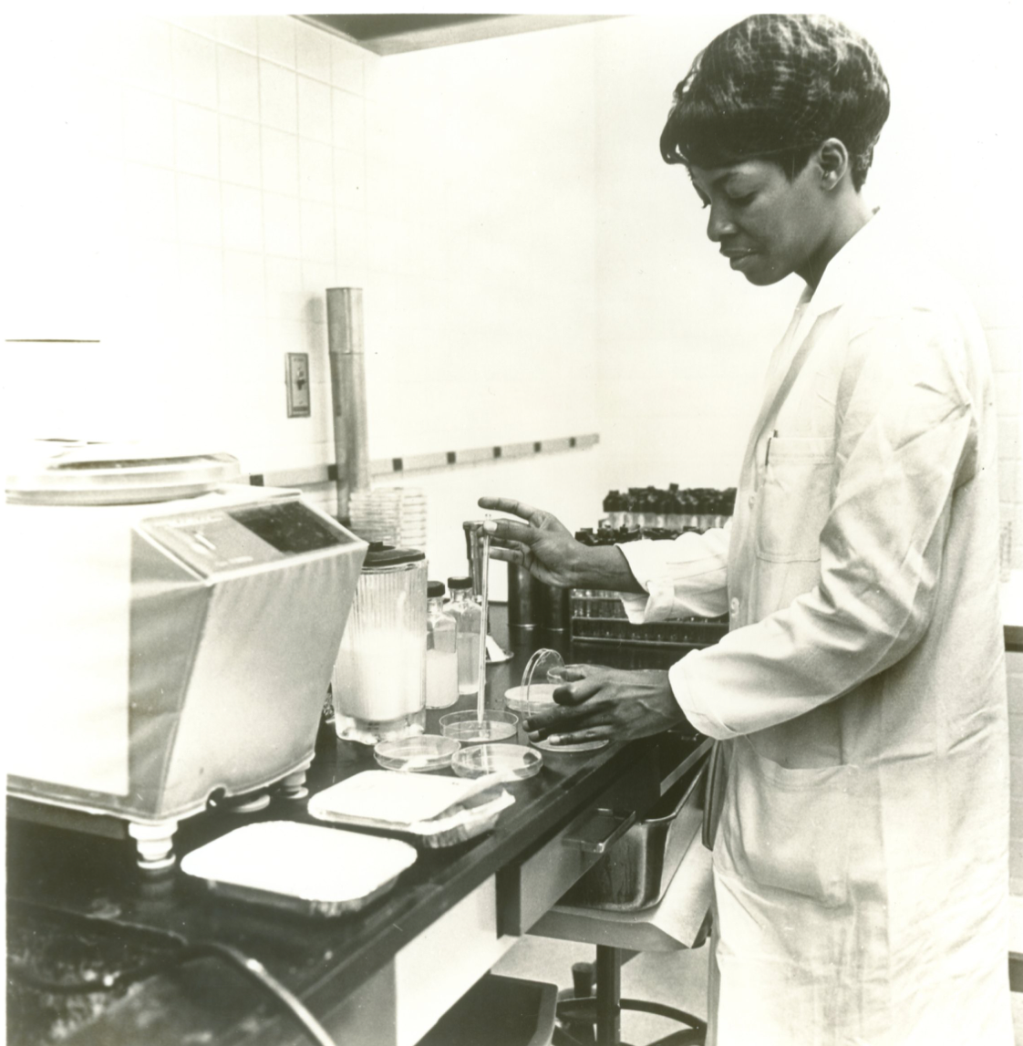 Sara Thompson, Stouffer's quality control supervisor during the Apollo 11 mission. Isolation/Quarantine Foods for Apollo 11 Astronauts from Stouffer's Press Materials.