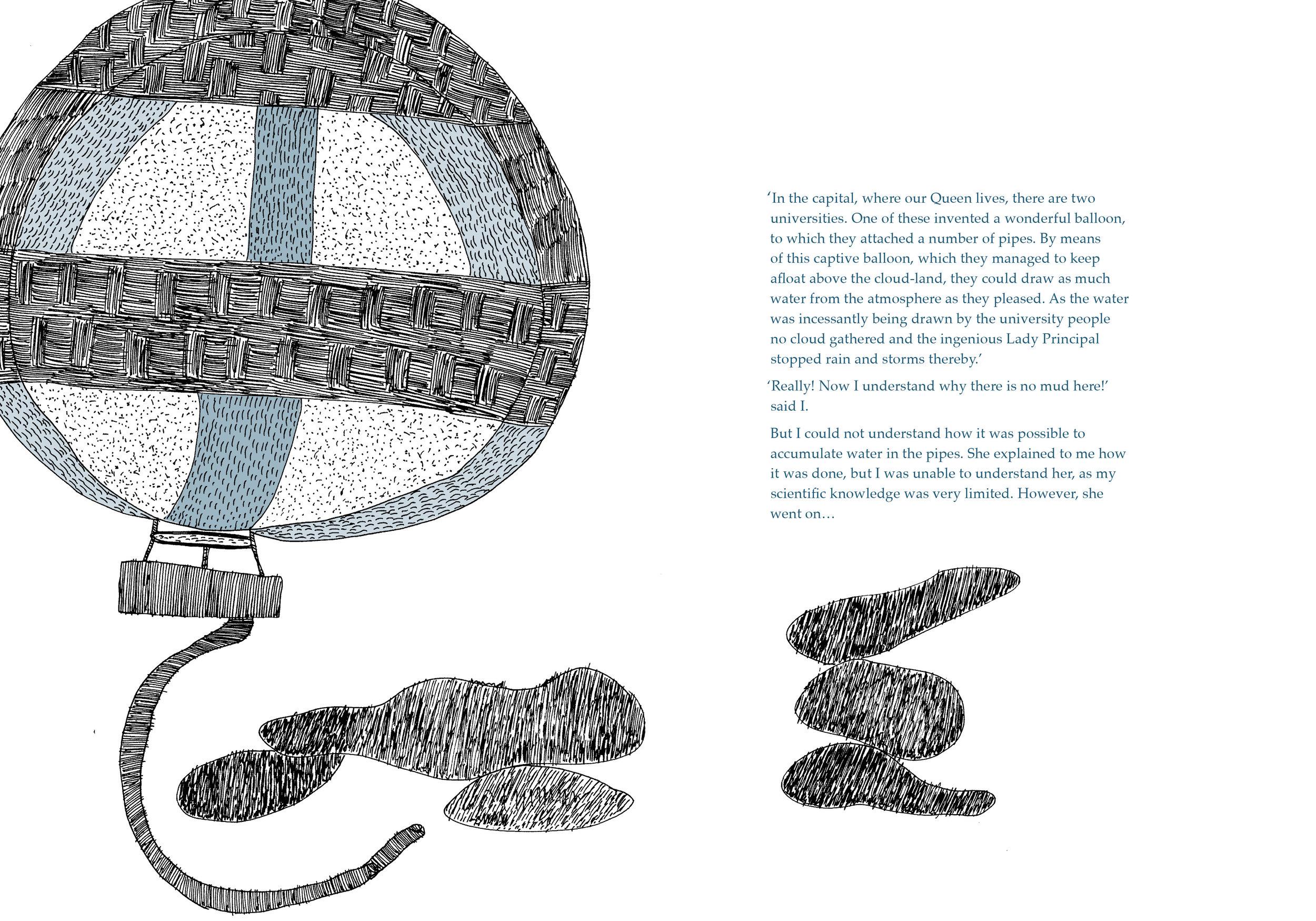 Captive Balloon. Text by Begum Rokheya Sakhawat Hossain and illustrations by Durga Bai for 'Sultana's Dream.' Original Edition ©️Tara Books Pvt Ltd, Chennai, India www.tarabooks.com.