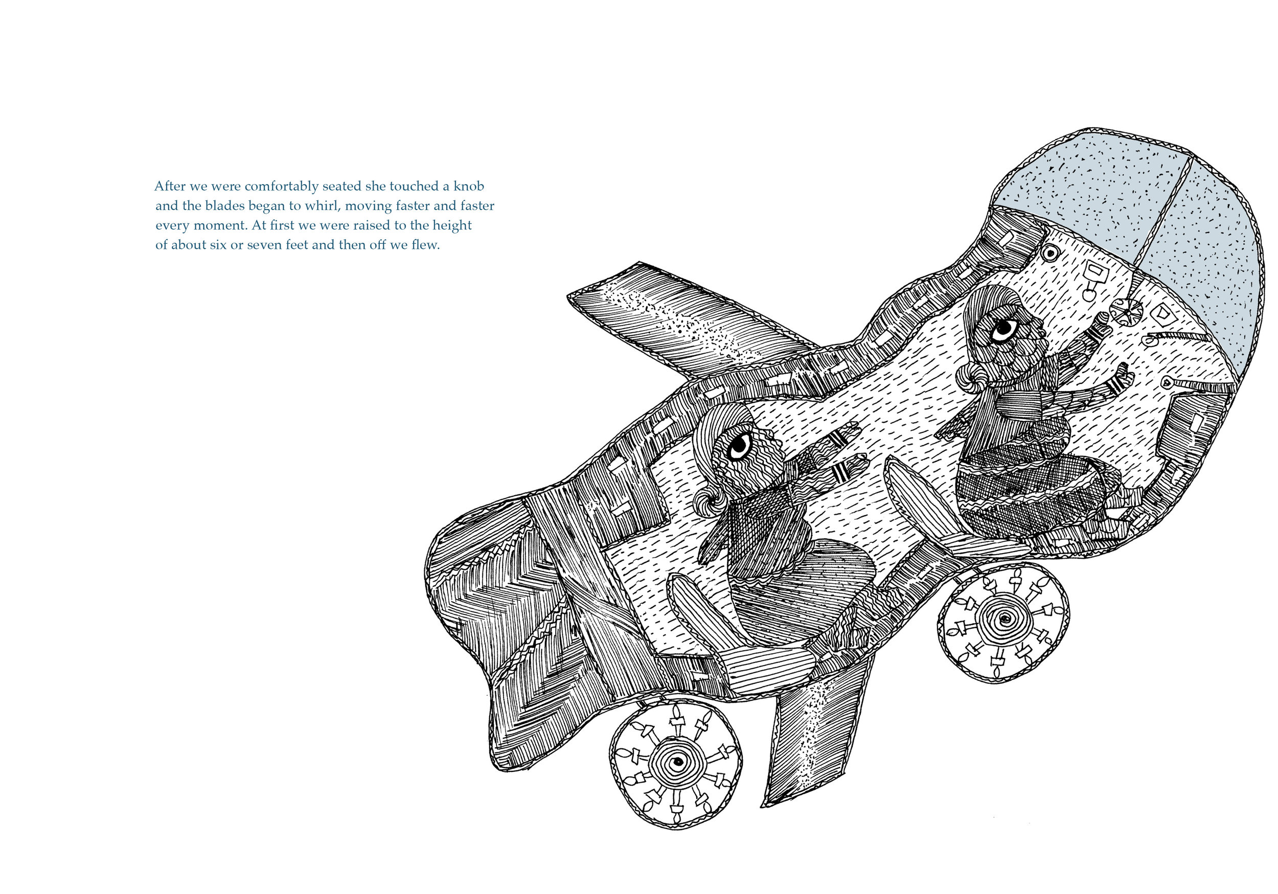 Flying Car. Text by Begum Rokheya Sakhawat Hossain and illustrations by Durga Bai for 'Sultana's Dream.' Original Edition ©️Tara Books Pvt Ltd, Chennai, India  www.tarabooks.com .