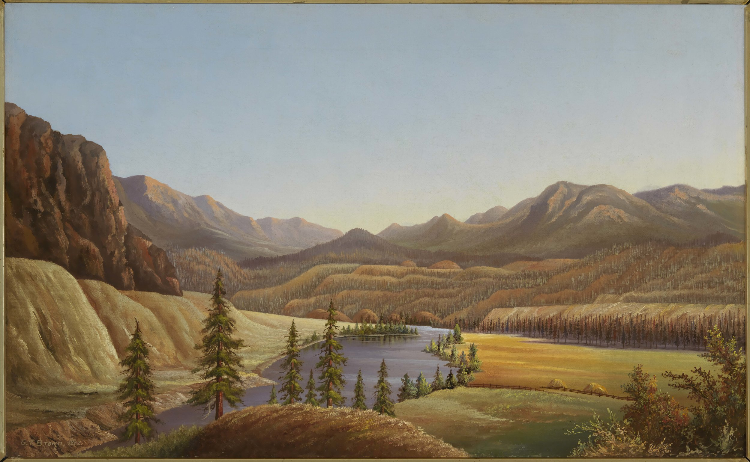 Grafton Tyler Brown,View of Lake Okanagan, British Columbia,1882,Collection of the Smithsonian National Museum of African American History and Culture, Gift of Curtis E.Ransom in memory of Julia Turner Ransom  Letterhead featuring Brown's work was donated to the NMAAHC by Wells Fargo.