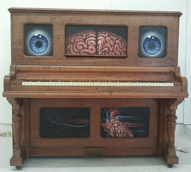 Evan Skrederstu.  Old Blue Eyes.  2012 - acrylic on piano.