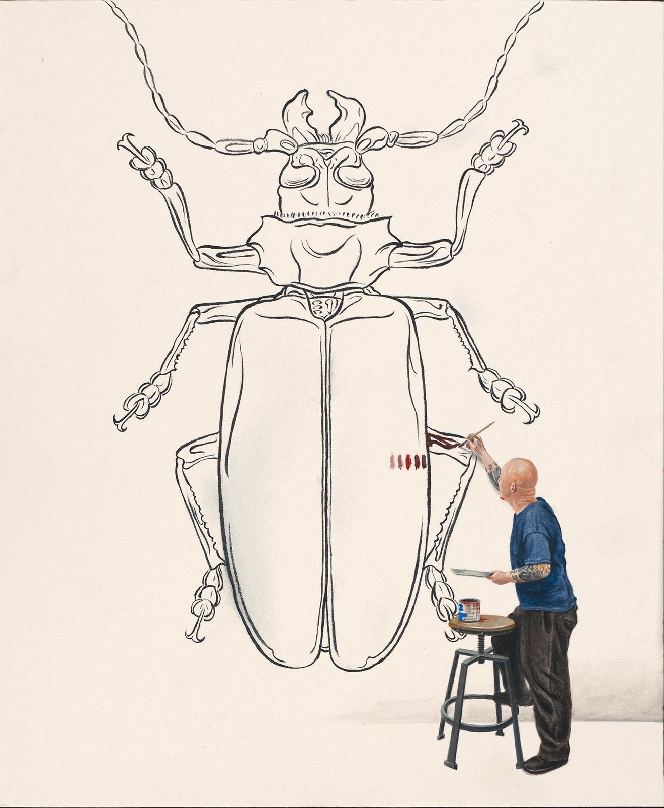 "Evan Skrederstu.  Titanus.  2014 - acrylic on board, 12"" x 10""."