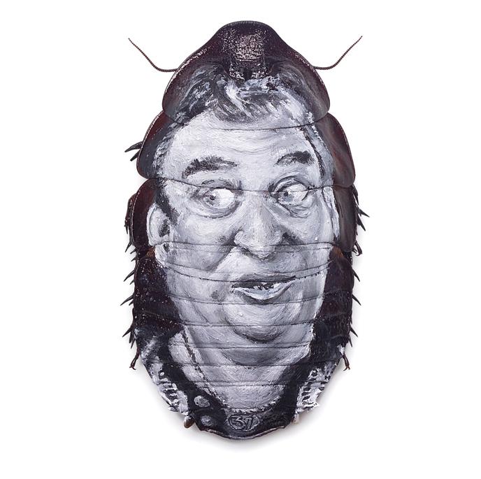 Evan Skrederstu.  No Respect.  2006 – acrylic on roach, 3″ x 1″.