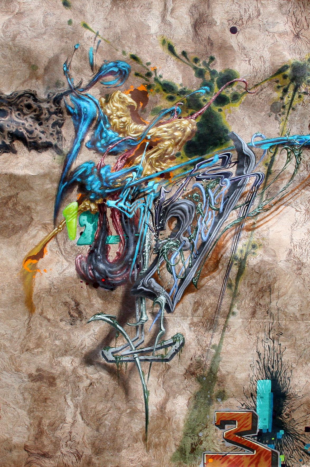 Evan Skrederstu.  Abstraction and Numbers.  2012 – acrylic on wood paper, 17″ x 12″.