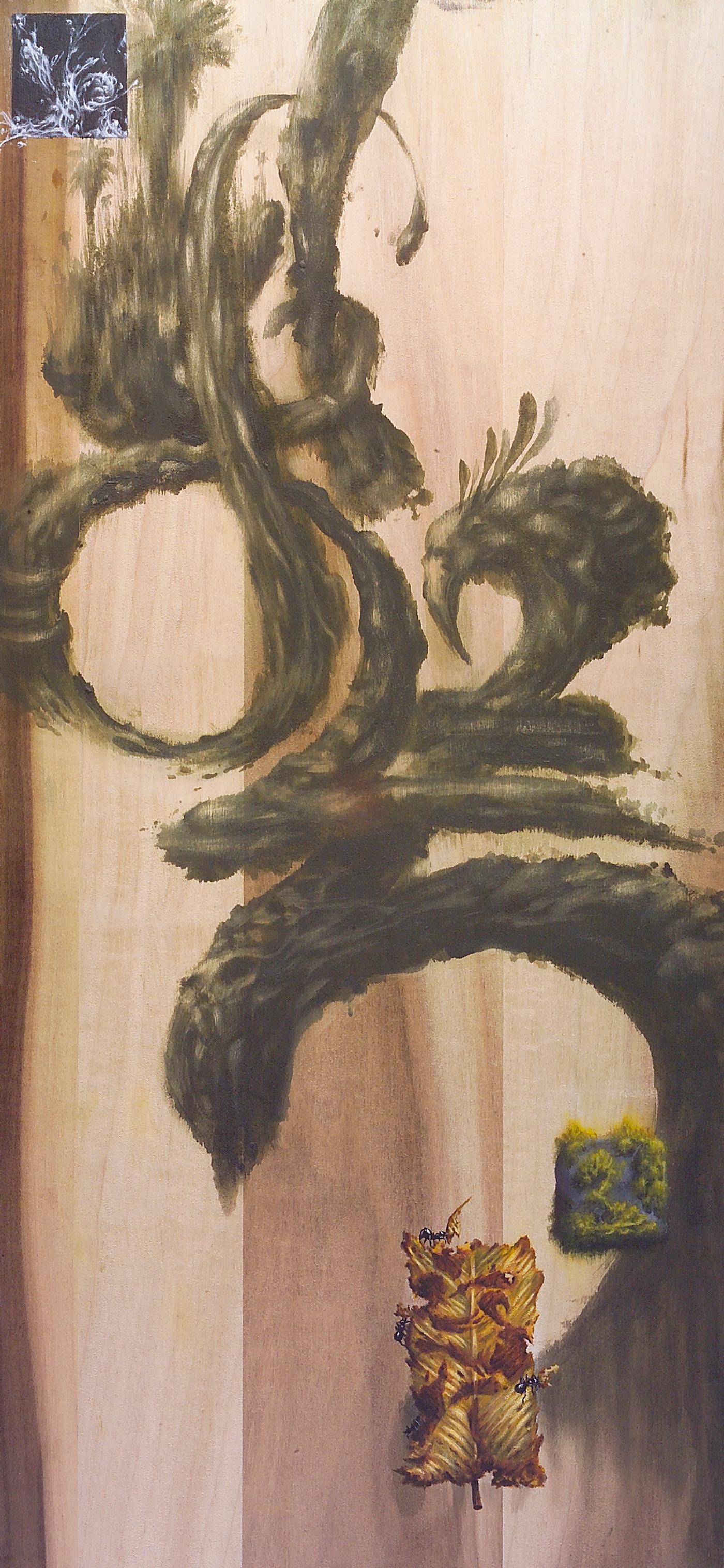 Evan Skrederstu.  Up Late.  2005 – acrylic and sandpaper on wood, 30″ x 12″.