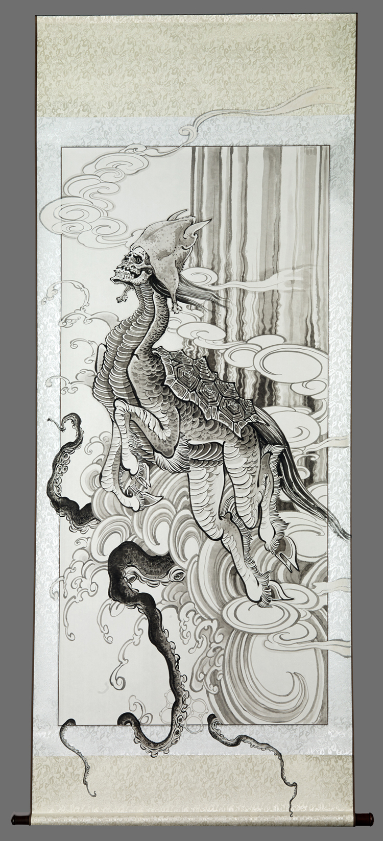 """Christopher Brand.  Chickenhead Returns to the River . 2015 - acrylic on paper & silk, 27"""" x 68""""."""
